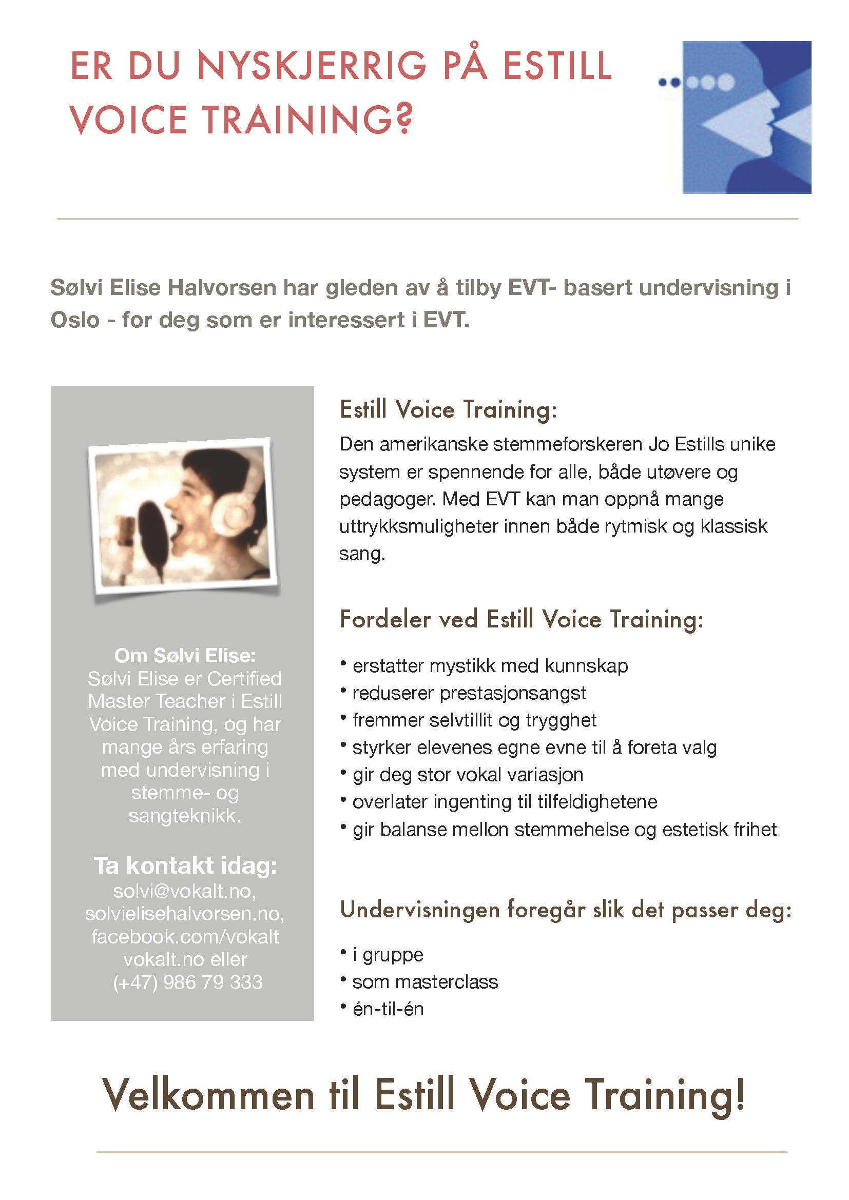 Flygeblad Estill Intro Sølvi Elise